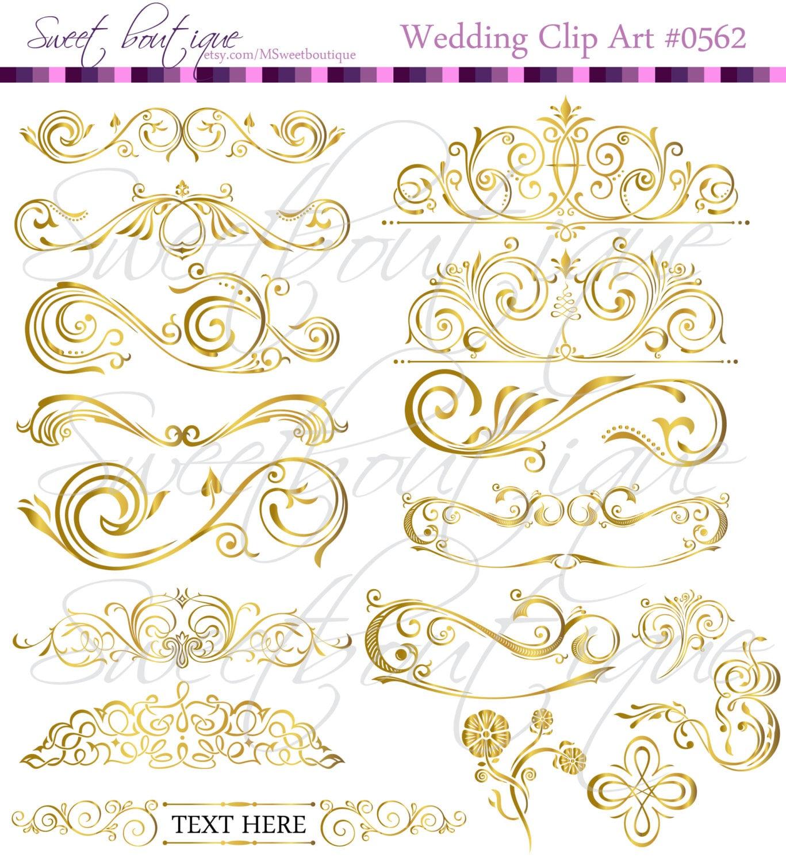 Gold 17 Calligraphy Vintage Clip Art Diy Wedding Cards Design intended for clip art embellishment designs intended for your inspiration