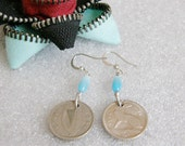 Coin earrings 1966 Irish threepence with hare and harp. History in jewelry coin accessory money dangle with blue Cat's eye beads.