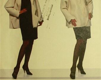 "Jacket, Shaped Opening & Dress by Geoffrey Beene - 1990's - Vogue Pattern 2018  Uncut   Sizes 12-14-16  Bust 34-36-38"""