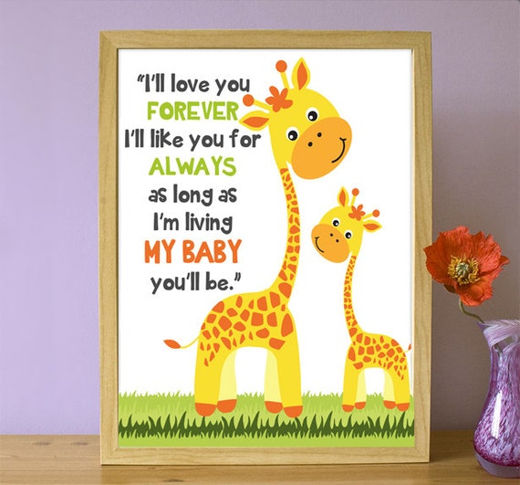 I Ll Love You Forever Quote: Printable Nursery Quote Giraffe Family Ill Love You