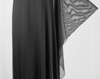 Baylis & Knight Sheer STUDIO 54 MAXI Long Batwing 70's Disco Glam One Shoulder Bat Wing Dress Black Elegant (Smock)