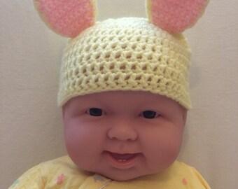 Yellow Crochet Baby Bunny Beanie