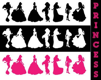 21 Disney Princess Silhouettes // Disney Princesses Silhouette // Disney Clipart // Princess Silhouettes