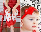 Valentines SET Red Heart Leg Warmers AND headband Baby Outfit  leggings pants with tulle ruffles
