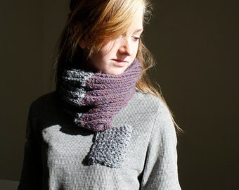 Alpaca and Organic Wool Knit Purple and Grey Color Block Infinity Scarf Hand Knit