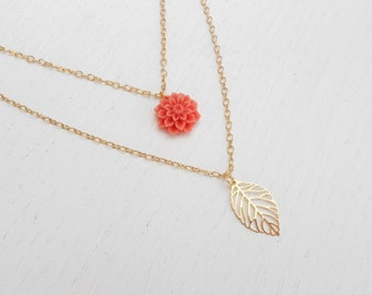 Special SALE - Double strand necklace, Pink coral necklace, Coral flower necklace