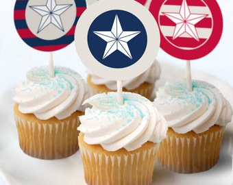 Election Red White & Blue Printable Patriotic Cupcake Toppers July Fourth