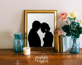 Custom Silhouette printable - wedding silhouettes print portrait anniversary gift art wall decor poster - Personalized, digital