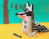 Albert the big raccoon, handmade plush animal, pink with stripes
