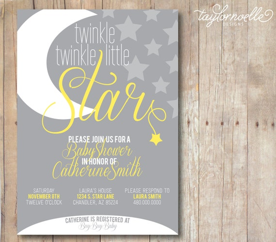 twinkle twinkle little star baby shower invitation printable 5x7 grey