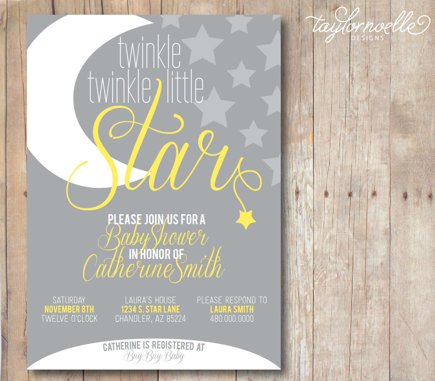Twinkle Twinkle Little Star Baby Shower Invitation. Printable