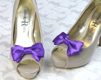 Purple Shoe Bow Clips, Purple Clip on Shoe Bows, Purple Wedding Shoe Bows, Purple Bow Clip Shoes