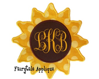 Digital Machine Embroidery Design - Sunflower Applique