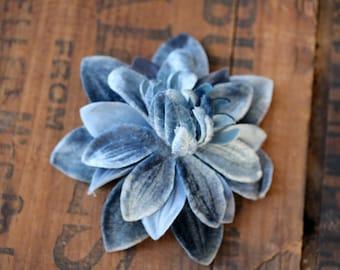 "Blue Velvet Flower Clip, Denim Blue Accessory, 1940s Fascinator, Vintage Floral Clip Cornflower Hair Clip Dahlia 1950s - ""How High the Moon"""