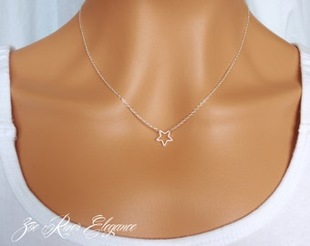 Choose gold or silver open star necklace pendant, Elegant and dainty star necklace