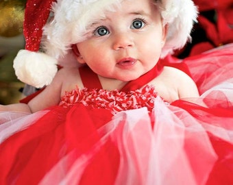Candy Cane Tutu, Candy Cane Tutu Dress, Red and White Tutu, Candy Cane Tulle Tutu Dress with Candy Cane Shabby Roses by My Precious Tutu