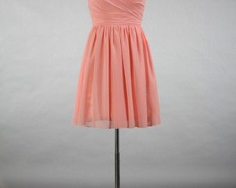 Peach Pink Bridesmaid Dress, A-line Sweetheart Short Chiffon Bridesmaid Dress