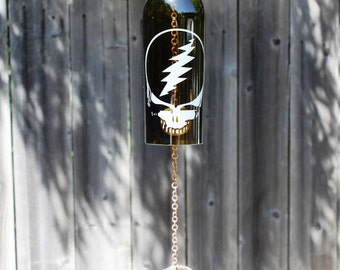 Dead Head Wine Bottle Windchime - Nature Repurposed Garden Cabin Fathers Day Glass House Warming Etching