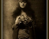 Crystal Ball, Fortune Teller Fridge Magnet vintage image, dark and creepy, sepia tones