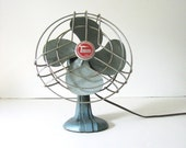 Vintage Blue Torcan Metal Blade Electronic Oscillating Fan Industrial Decor