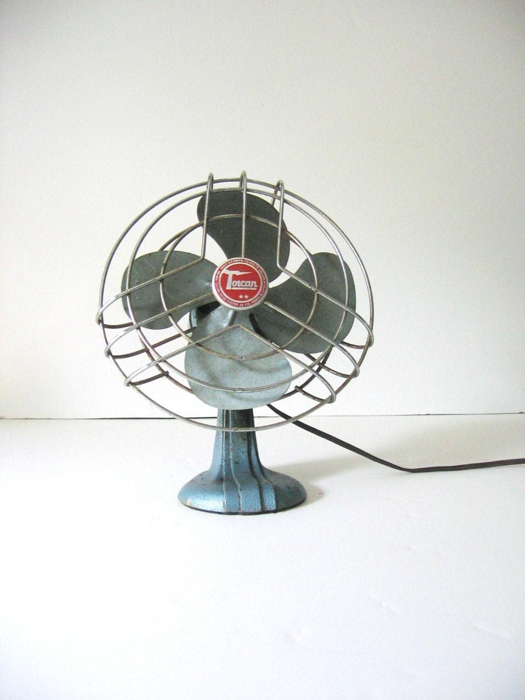 Metal Fan Blades : Vintage blue torcan metal blade electronic oscillating fan