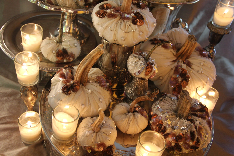 White pumpkins silk beaded wedding centerpiece