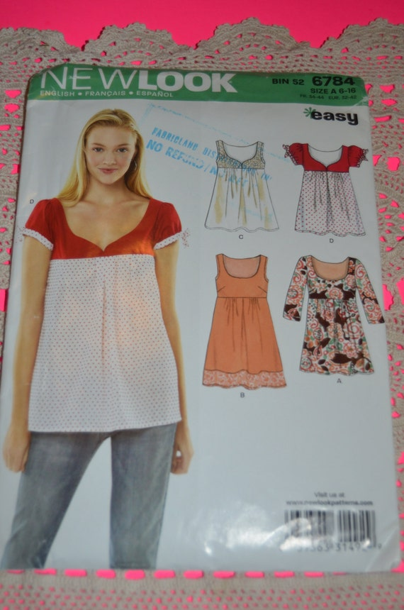 New Look 6784 Womens Top Sewing Pattern - UNCUT - Sizes 6 - 16