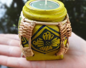 Beautiful Hand Painted Wooden Candle Holder