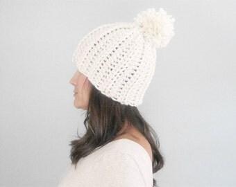 Wool Pom Pom Hat, Winter Hat Wool, Snowboarding Hat, Chunky Wool Hat