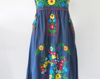 Mexican Embroidered Sundress Cotton Strapless With Lining In Blue
