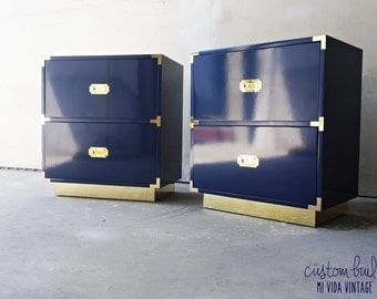 BUILT TO ORDER - Campaign Nightstands / Side Table – With Brass or Chrome Mirror Toe Kick (Your Choice of Lacquer Color or Finish)