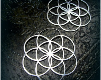 Sacred Geometry Seed of Life Silver Earrings ~ Fits in Gauges and Tunnels ~ Statement Hoops ~ Burning Man and Festival Style
