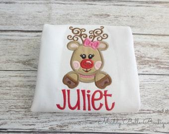 Fun Girly Reindeer Appliqued Shirt - Embroidered Shirt, Personalized, Monogram, Holiday, Christmas, Girls, Toddler, Christmas Shirt