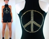 Vintage 90s 70s STUDDED Black Playsuit Peace Sign. Club Kid Hippie boho Hot Pants Shorts Goth Mini Bodycon Dress Romper Jumpsuit Extra Small