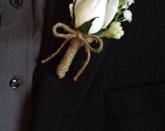 Wedding Boutonniere (Boutineer) - White Roses with Mixed Flowers and Burlap Twine