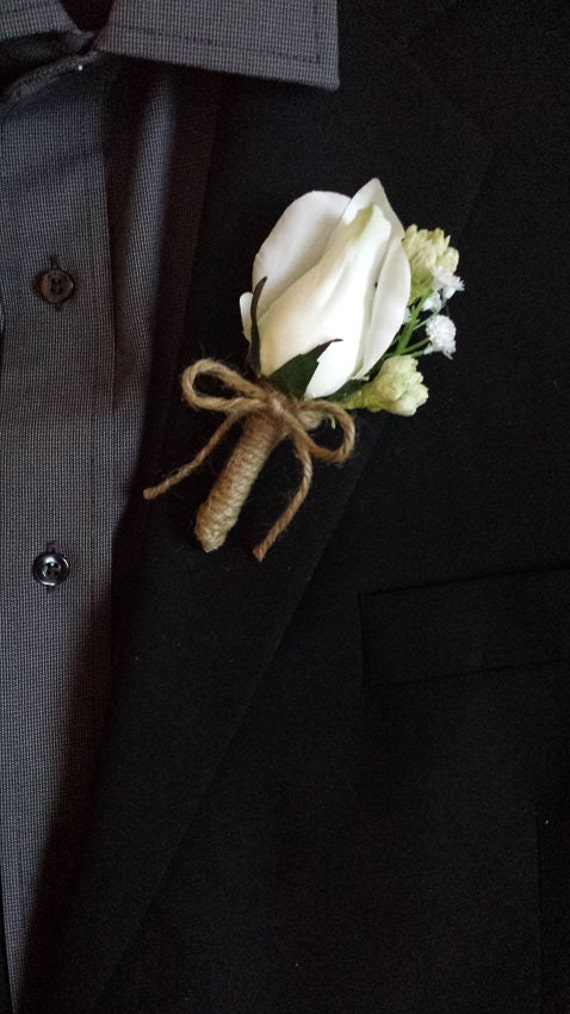 Wedding Boutonniere Boutineer White Roses With Mixed