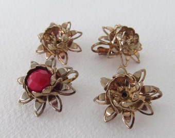 Vintage metal flower filigree clip on earring component blanks 2 pairs