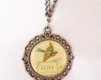 Vintage style bird pendant necklace - metal bird jewelry - vintage style pendant - metal bird necklace