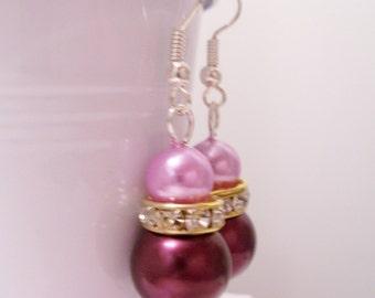 Burgundy and pink pearl earrings - burgundy and pink pearl beaded earrings - Swarovski banded earrings - burgundy earrings - pink earrings