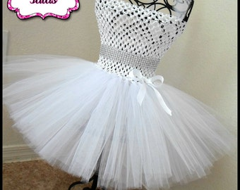Baptism tutu dress | White tutu dress| Flower girl tutu dress| Newborn-Size 8 girls listing!