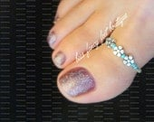 Big Toe Ring - Silver Violets- Turquoise - Stretch Bead Toe Ring