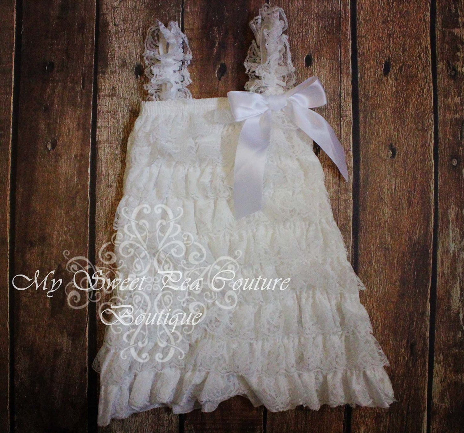 Lace Flower Girl Dress Baby Dress White by MySweetPeaCouture