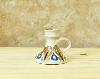 Vintage Danish Ceramic Candle Holder / Scandinavian Decor / Nordic / Retro Home / European / Studio Pottery / Hand Painted / Candle Stick