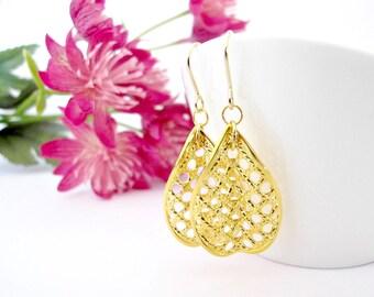 Gold Filigree Earrings/ Gold Teargrop Earrings/ Gold Punched Earrings/ Long Gold Earrings/ Gold Dangle Earrings - Yin