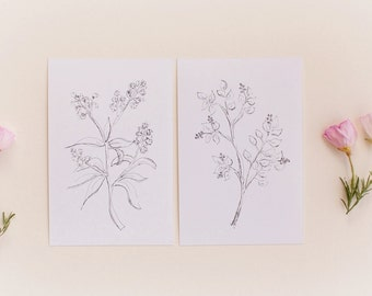 Botanical Print Set, Set of 2 Floral Prints