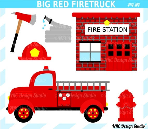 Clip Art - Big Red Firetruck Clip Art - Digital Firetruck Fire Station ...