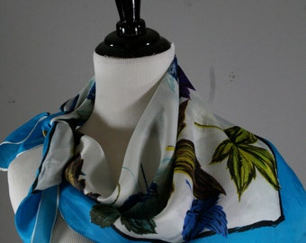 Vintage 1950s Colorful Leaves Rayon Scarf, Lee Fashion