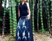 Long A-Line Skirt - Black w/ Feather Print