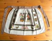 1960's Linen Half Apron, Vintage Pennsylvania Dutch Pure Linen Waist Apron