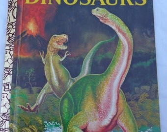 """Vintage Little Golden Book """"Dinosaurs"""" by Jane Werner Watson, pictures by William de J. Rutherfoord, 1974."""